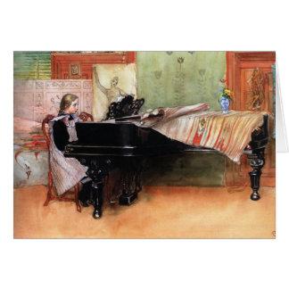Chica que juega el piano felicitacion