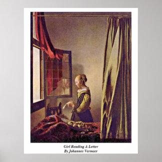 Chica que lee una letra de Juan Vermeer Poster