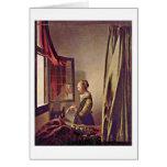 Chica que lee una letra de Juan Vermeer Tarjeta