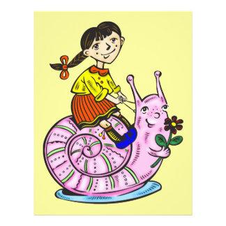 """Chica que monta un caracol 2 folleto 8.5"""" x 11"""""""