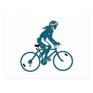 Chica que monta una bici postal