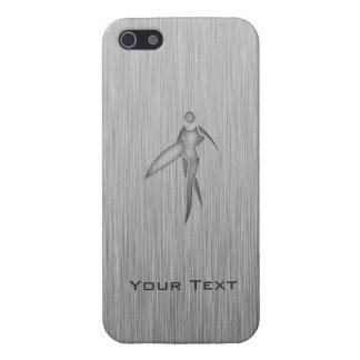 Chica que practica surf; Metal-mirada cepillada iPhone 5 Coberturas