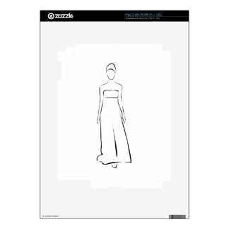 Chica que presenta en equipo de moda calcomanías para iPad 2