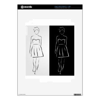Chica que presenta en equipo de moda iPad 2 skins