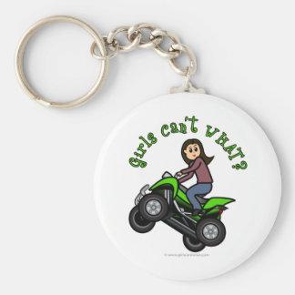 Chica que rueda cuatro de la luz ATV el | Llavero Redondo Tipo Pin