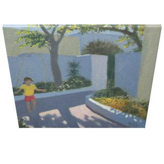 Chica que salta Santorini 2002 Impresión En Lienzo