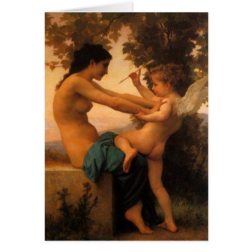 Chica que se defiende contra Cupid por Bouguereau Tarjeta De Felicitación