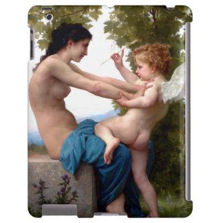 Chica que se defiende contra la pintura del Cupid