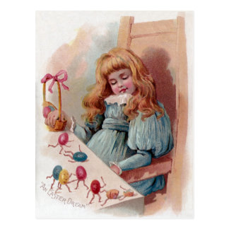 Chica que soña con los huevos de Pascua animados Postales