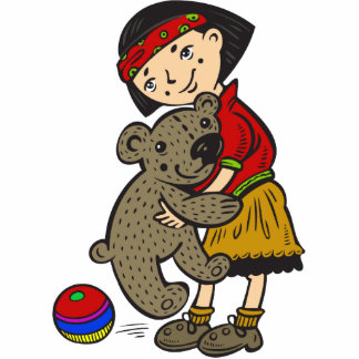 Chica que sostiene el oso de peluche esculturas fotograficas