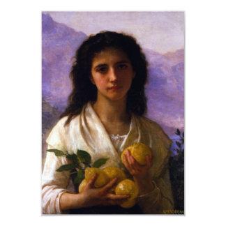 """Chica que sostiene los limones de William-Adolphe Invitación 3.5"""" X 5"""""""
