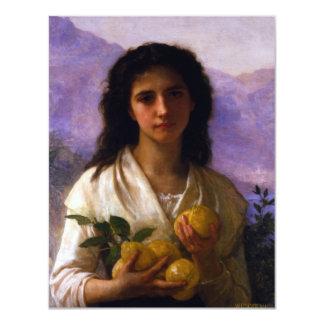 """Chica que sostiene los limones de William-Adolphe Invitación 4.25"""" X 5.5"""""""