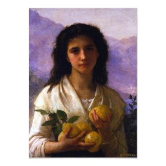 """Chica que sostiene los limones de William-Adolphe Invitación 4.5"""" X 6.25"""""""