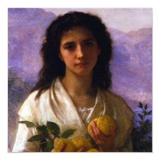 """Chica que sostiene los limones de William-Adolphe Invitación 5.25"""" X 5.25"""""""
