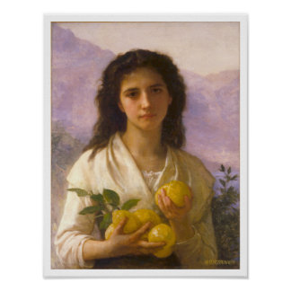 Chica que sostiene los limones, William-Adolphe Poster