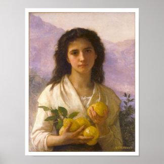 Chica que sostiene los limones, William-Adolphe Póster
