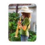 Chica que toca el saxofón imán de vinilo