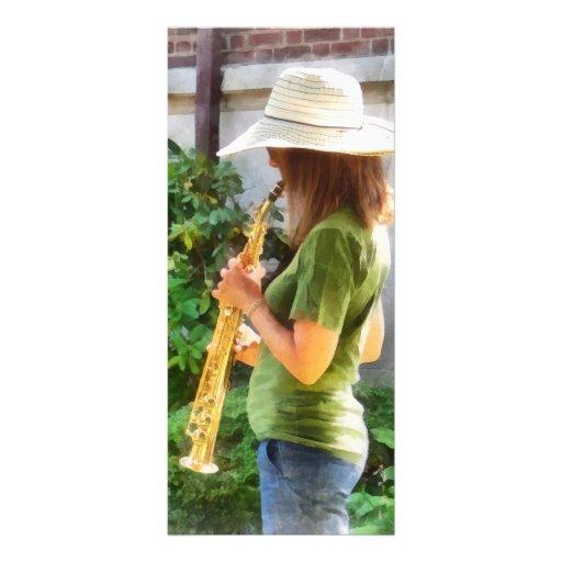 Chica que toca el saxofón lonas personalizadas