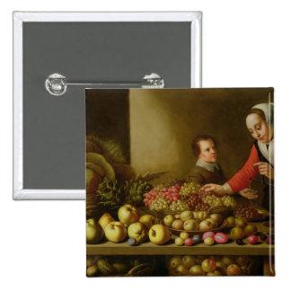 Chica que vende las uvas pin cuadrada 5 cm