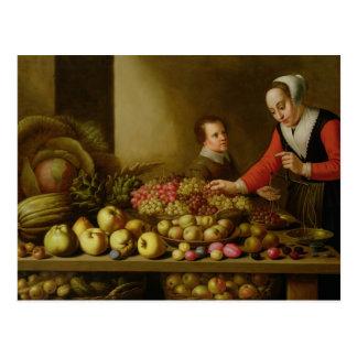 Chica que vende las uvas postales
