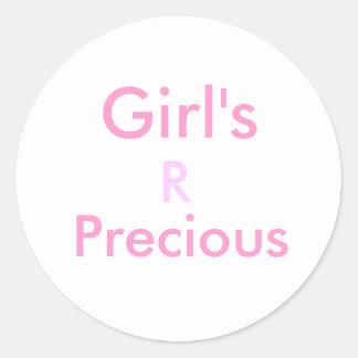Chica, R, muy Pegatina Redonda