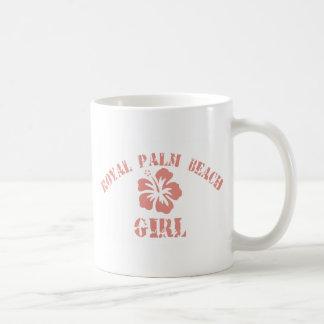 Chica real del rosa del Palm Beach Taza Básica Blanca