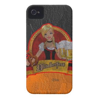 Chica retro Blackberry de Oktoberfest Waitres del  iPhone 4 Case-Mate Fundas