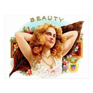 """Chica retro de la """"belleza"""" del arte de la caja de postales"""