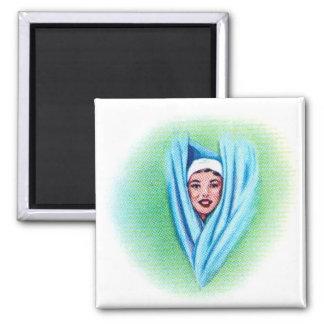 Chica retro de la cabezal de ducha de los suburbio imanes para frigoríficos