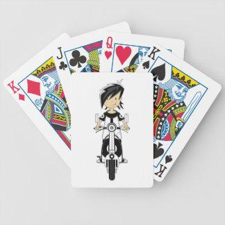 Chica retro de la MOD en tarjetas de la vespa Baraja De Cartas Bicycle