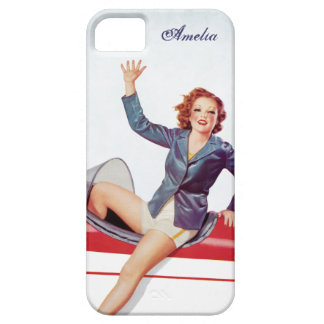 Chica retro de la mosca personalizado iPhone 5 Case-Mate carcasa