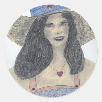 Chica retro de los años 70 del verano pegatina redonda