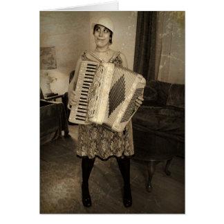 Chica retro del acordeón tarjeta de felicitación