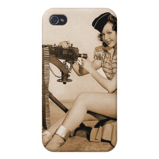 Chica retro del artillero de máquina de las mujere iPhone 4 protectores