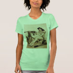 Chica retro del artillero de máquina de las camisetas
