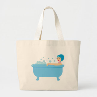 Chica retro del baño de burbujas bolsa