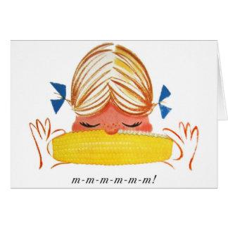 Chica retro del dibujo animado del maíz en la mazo felicitaciones