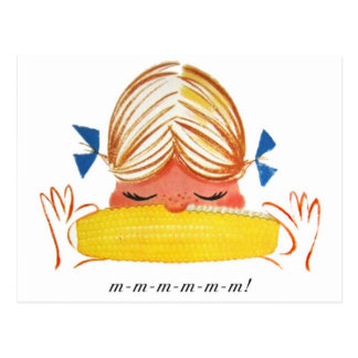 Chica retro del dibujo animado del maíz en la tarjeta postal