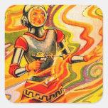 Chica retro del espacio del kitsch de Sci Fi del Pegatina Cuadrada
