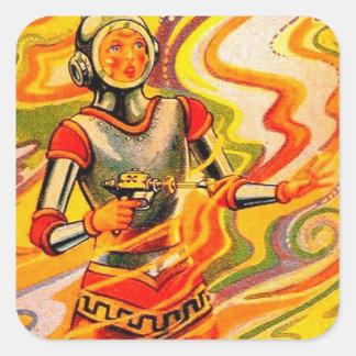 Chica retro del espacio del kitsch de Sci Fi del Calcomanía Cuadrada Personalizada