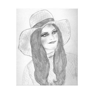 Chica retro del gorra 70s impresiones en lienzo estiradas