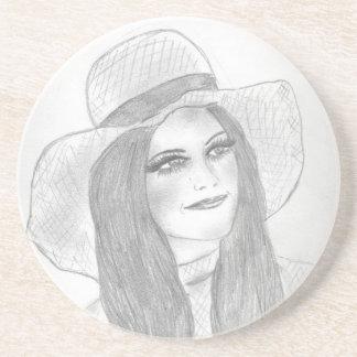 Chica retro del gorra 70s posavasos para bebidas