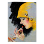 Chica retro del lápiz labial de las mujeres 20s Ho Tarjeta