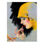 Chica retro del lápiz labial de las mujeres 20s Ho Tarjeta Postal