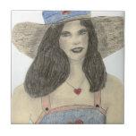 Chica retro del verano azulejo ceramica