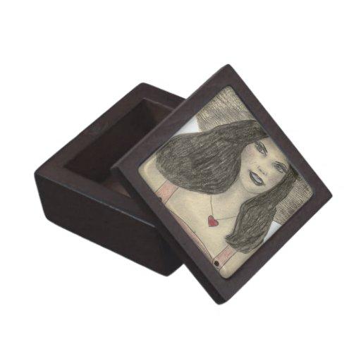 Chica retro del verano caja de recuerdo de calidad