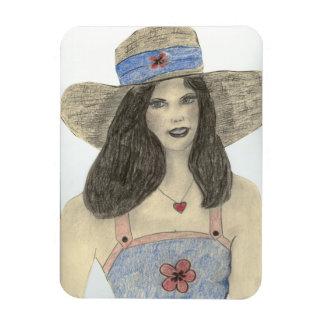Chica retro del verano rectangle magnet