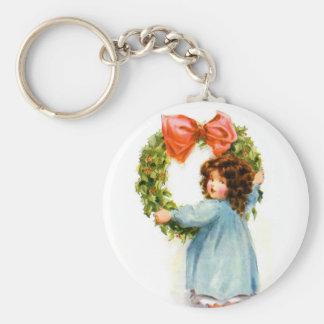 Chica retro del Victorian del navidad de las mujer Llaveros Personalizados