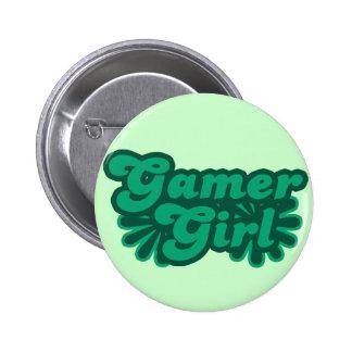 Chica retro del videojugador pins