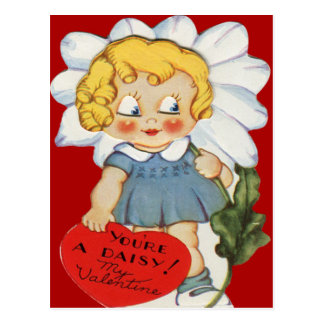 Chica retro del vintage con la tarjeta de la postales